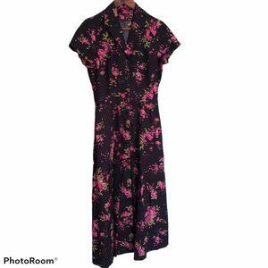 J. Peterman Black and Pink Floral Maxi Dress Sz 4